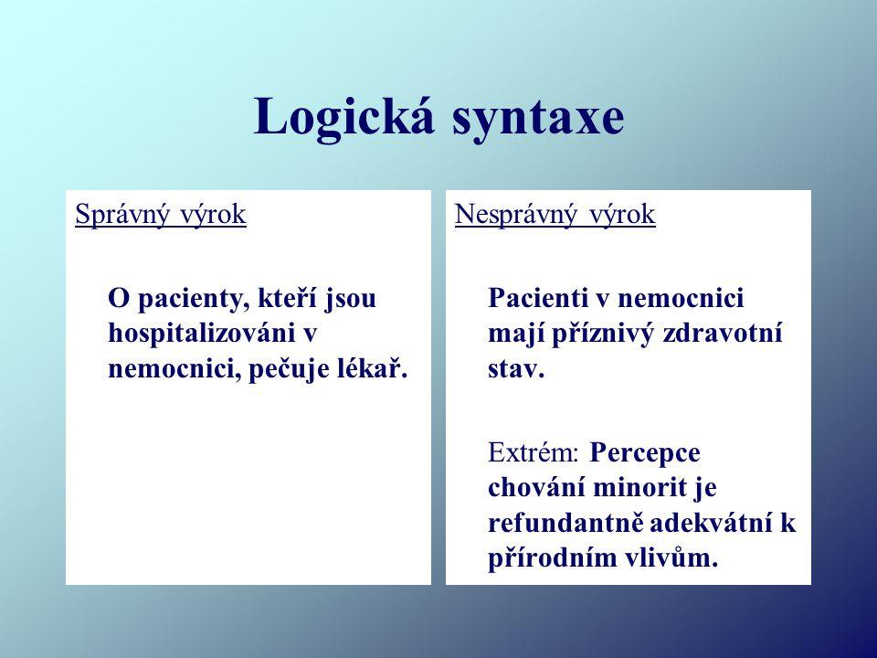 Logická syntaxe Správný výrok