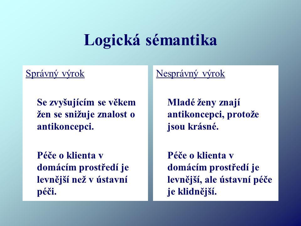 Logická sémantika Správný výrok