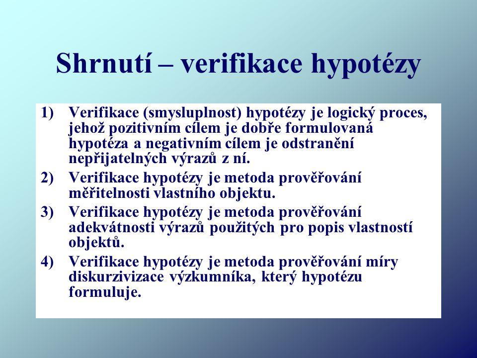 Shrnutí – verifikace hypotézy