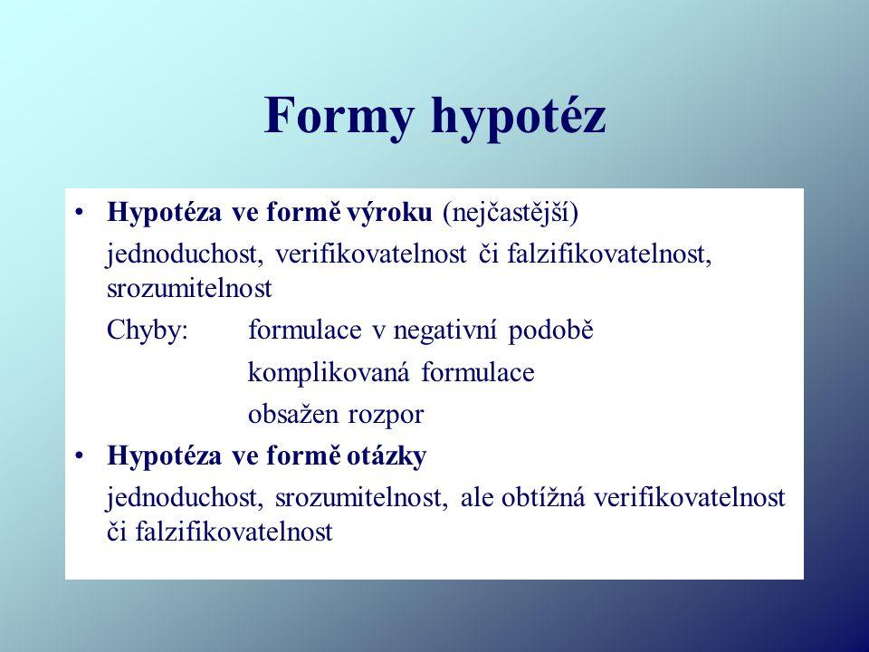 Formy hypotéz Hypotéza ve formě výroku (nejčastější)