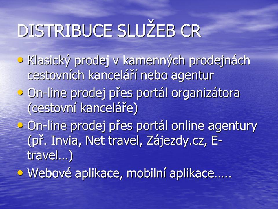 DISTRIBUCE SLUŽEB CR Klasický prodej v kamenných prodejnách cestovních kanceláří nebo agentur.