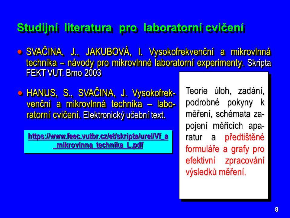Studijní literatura pro laboratorní cvičení