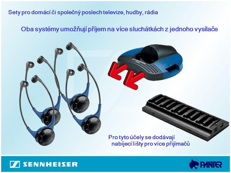 Oba systémy umožňují příjem na více sluchátkách z jednoho vysílače