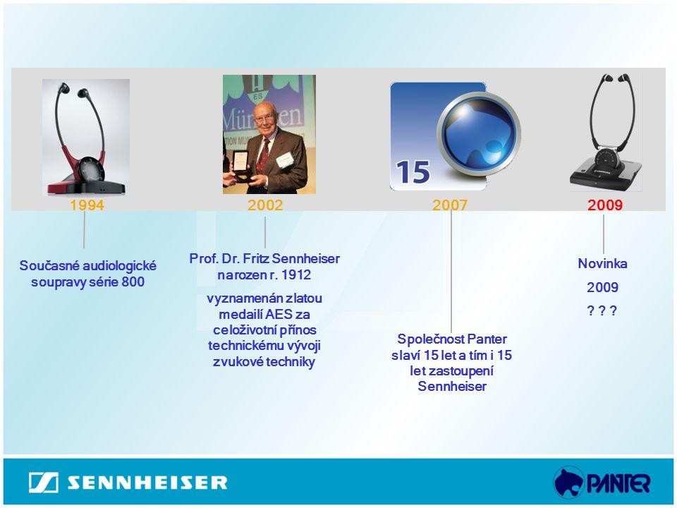 1994 2002 2007 2009 Prof. Dr. Fritz Sennheiser narozen r. 1912 Novinka