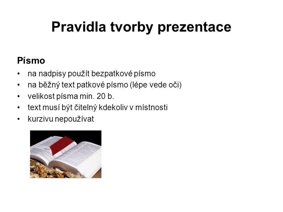 Pravidla tvorby prezentace