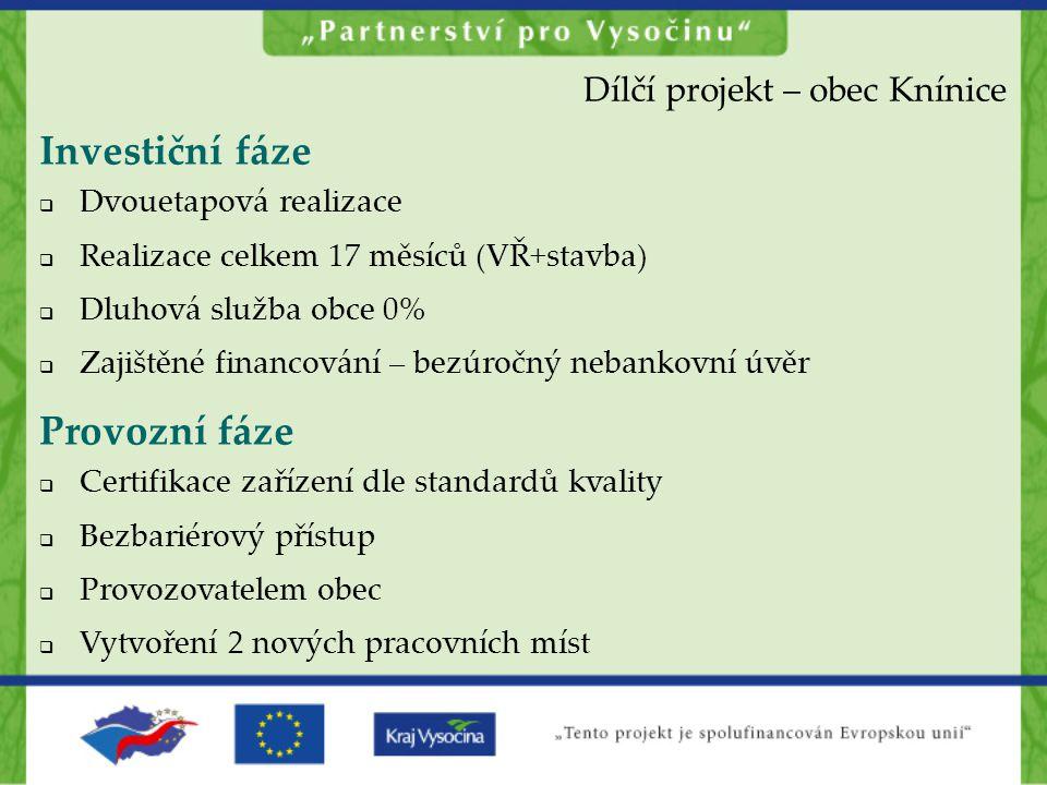 Investiční fáze Provozní fáze Dílčí projekt – obec Knínice