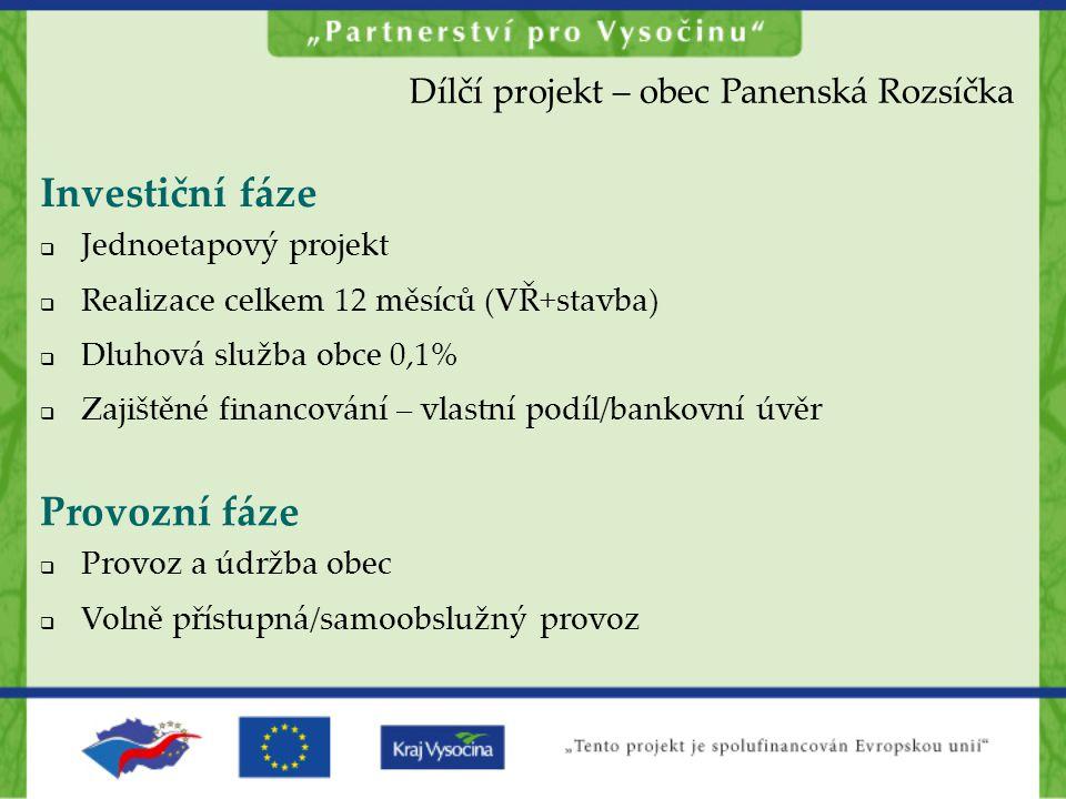 Investiční fáze Provozní fáze Dílčí projekt – obec Panenská Rozsíčka