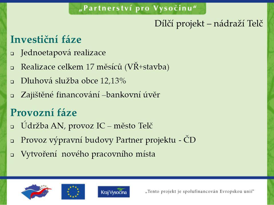 Investiční fáze Provozní fáze Dílčí projekt – nádraží Telč