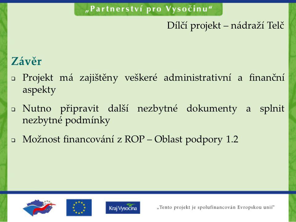Závěr Dílčí projekt – nádraží Telč