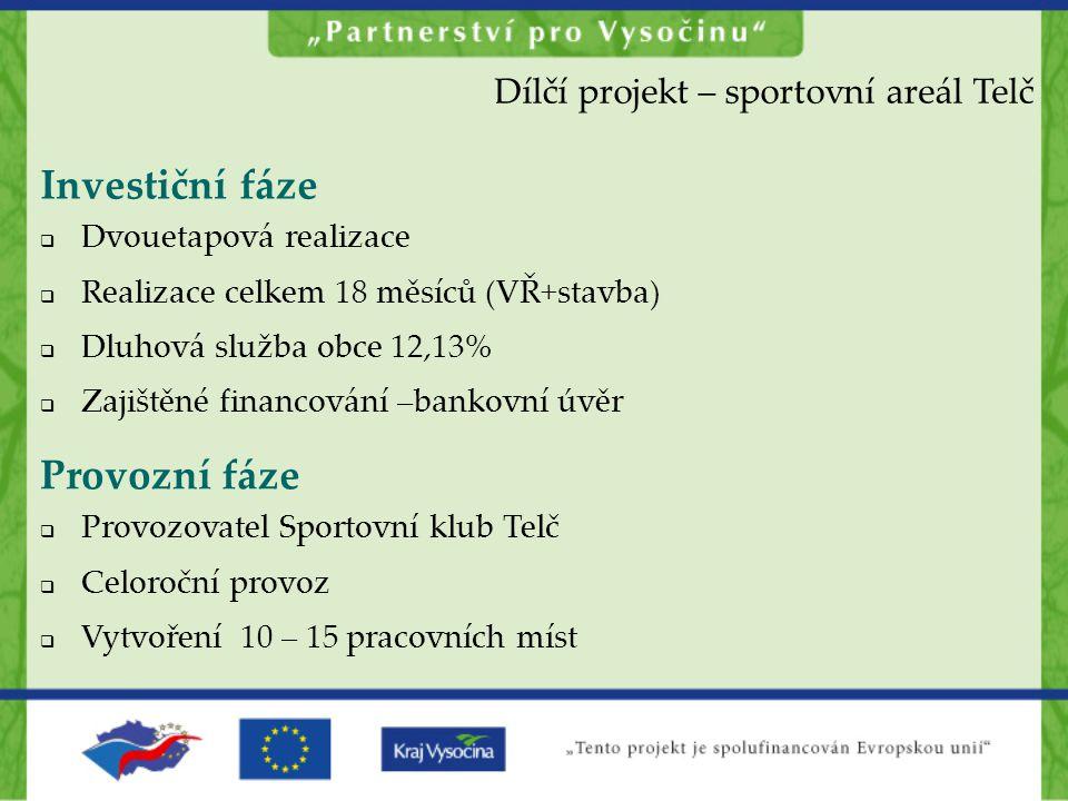 Investiční fáze Provozní fáze Dílčí projekt – sportovní areál Telč
