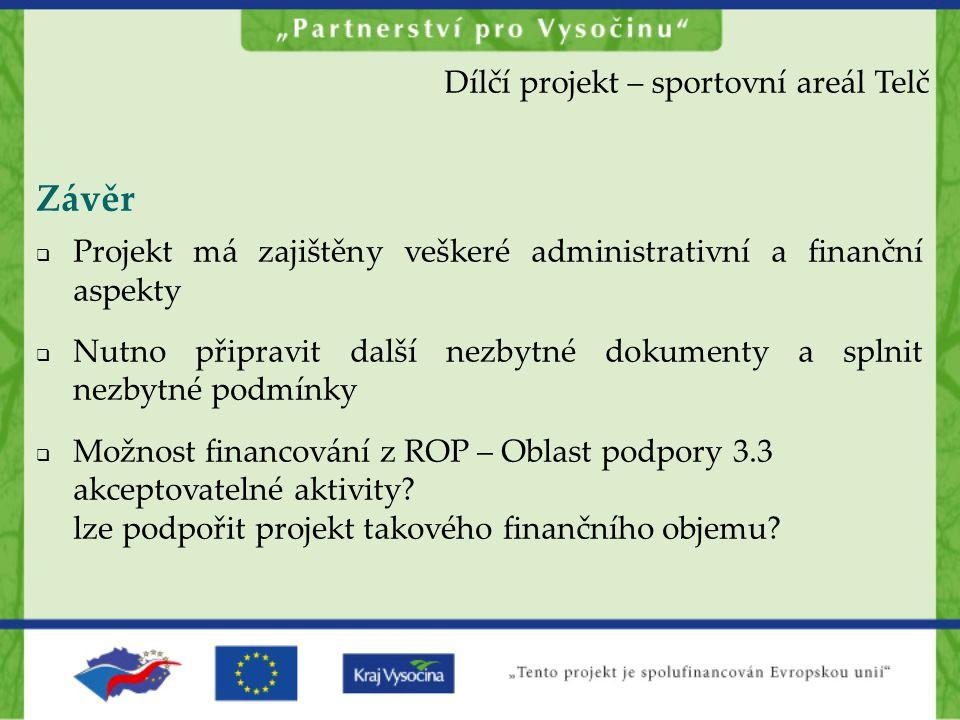 Závěr Dílčí projekt – sportovní areál Telč