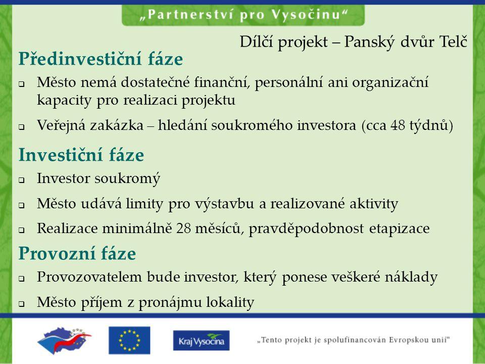 Předinvestiční fáze Investiční fáze Provozní fáze