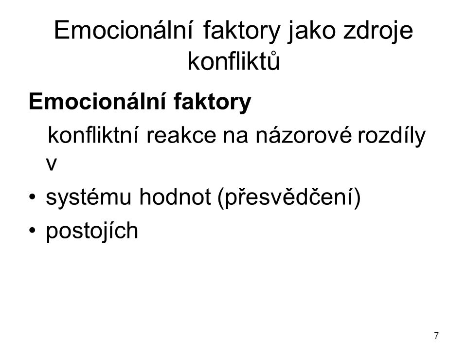Emocionální faktory jako zdroje konfliktů