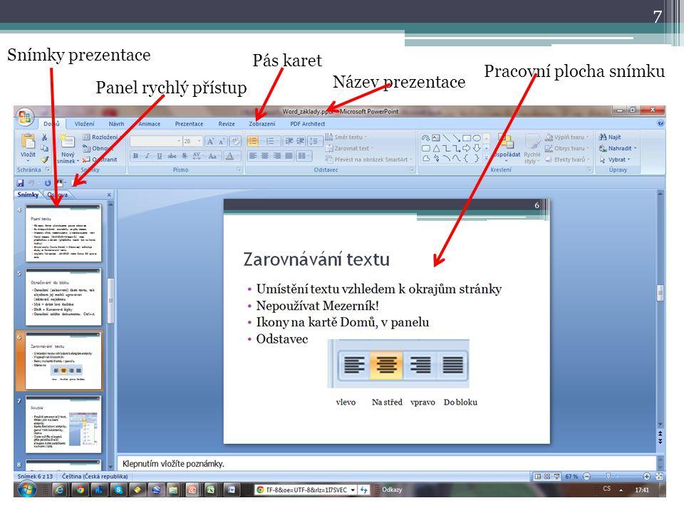 Snímky prezentace Pás karet Pracovní plocha snímku Název prezentace Panel rychlý přístup