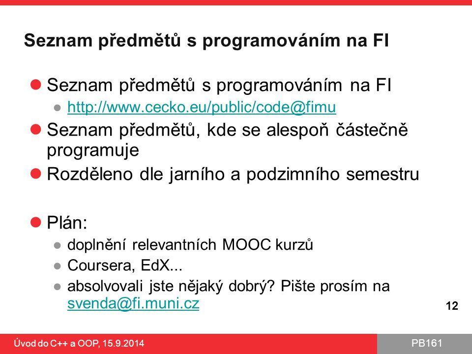 Seznam předmětů s programováním na FI