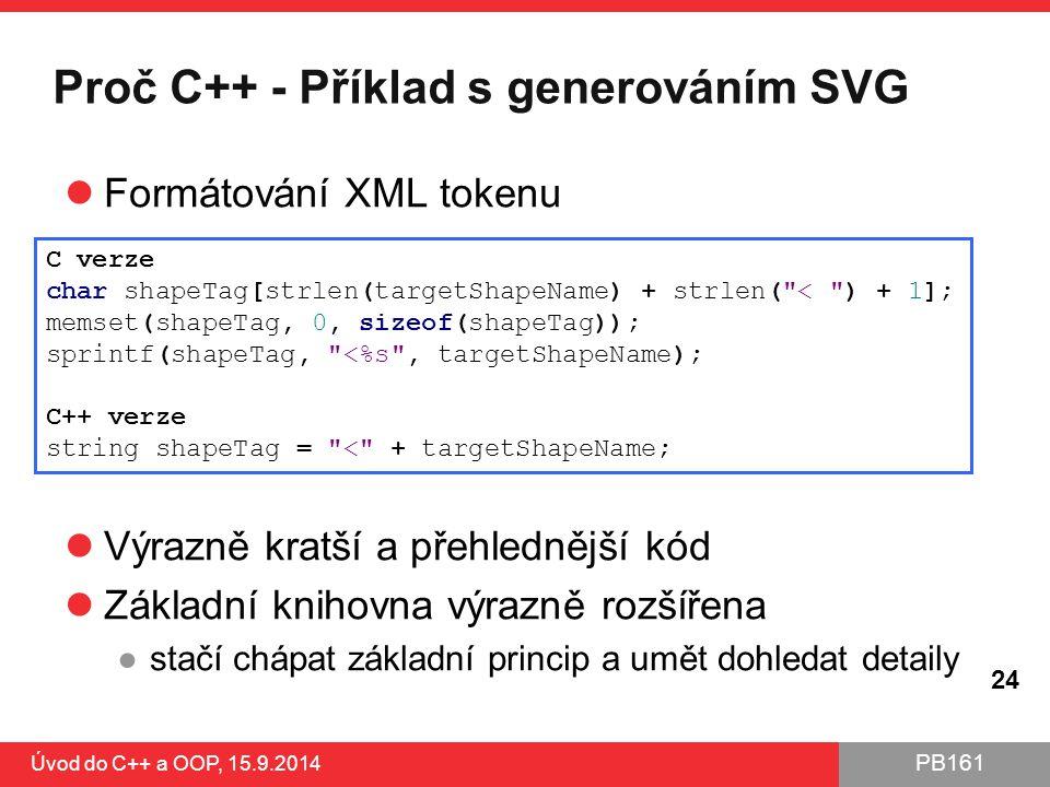 Proč C++ - Příklad s generováním SVG