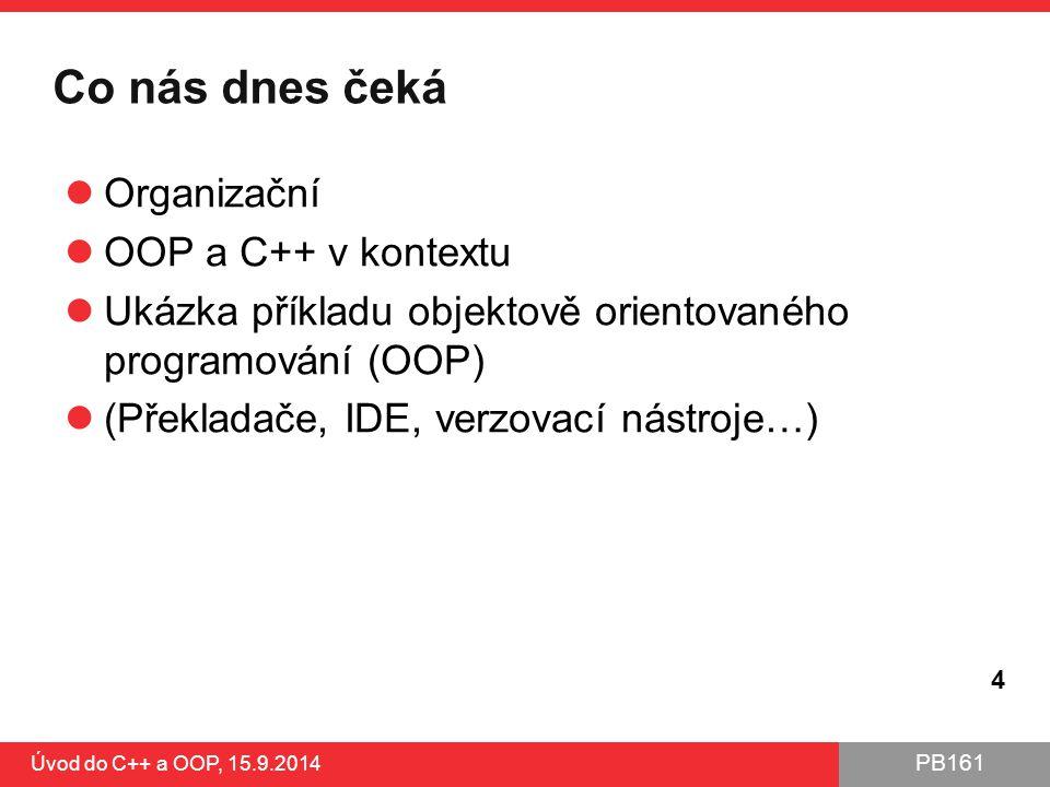 Co nás dnes čeká Organizační OOP a C++ v kontextu