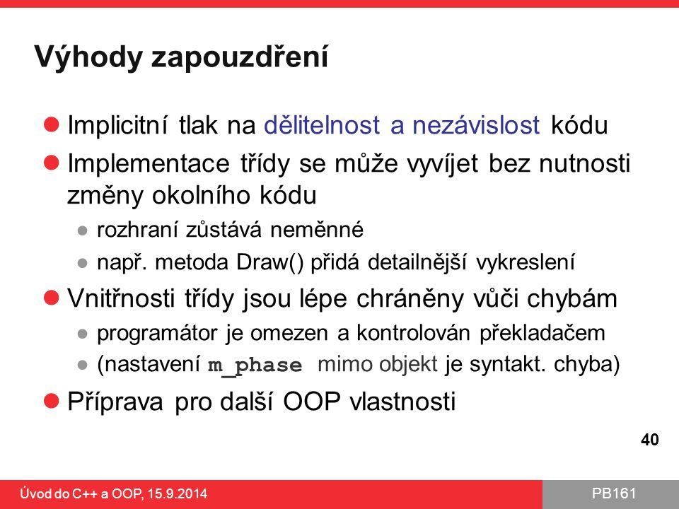 Výhody zapouzdření Implicitní tlak na dělitelnost a nezávislost kódu