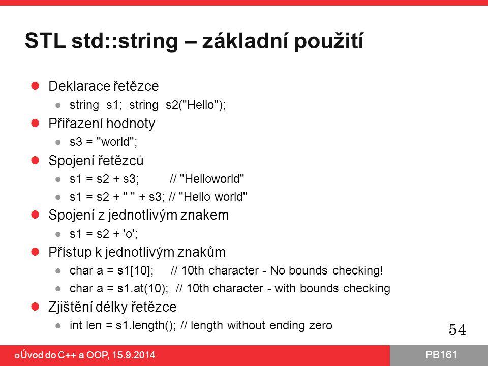 STL std::string – základní použití