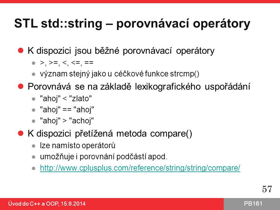STL std::string – porovnávací operátory