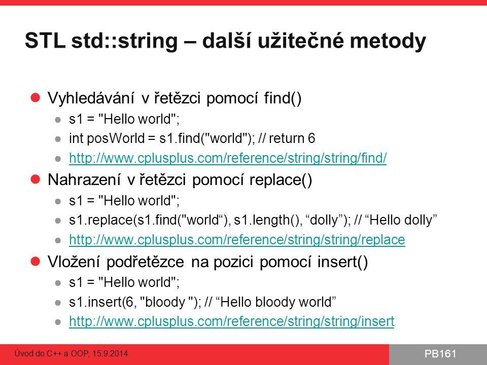 STL std::string – další užitečné metody
