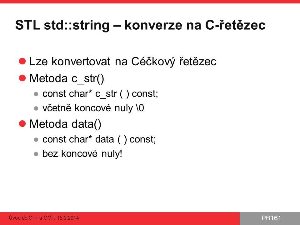 STL std::string – konverze na C-řetězec