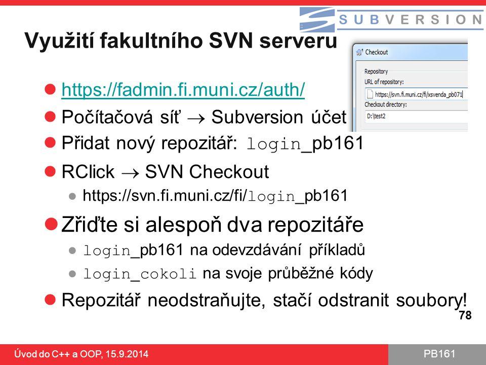 Využití fakultního SVN serveru