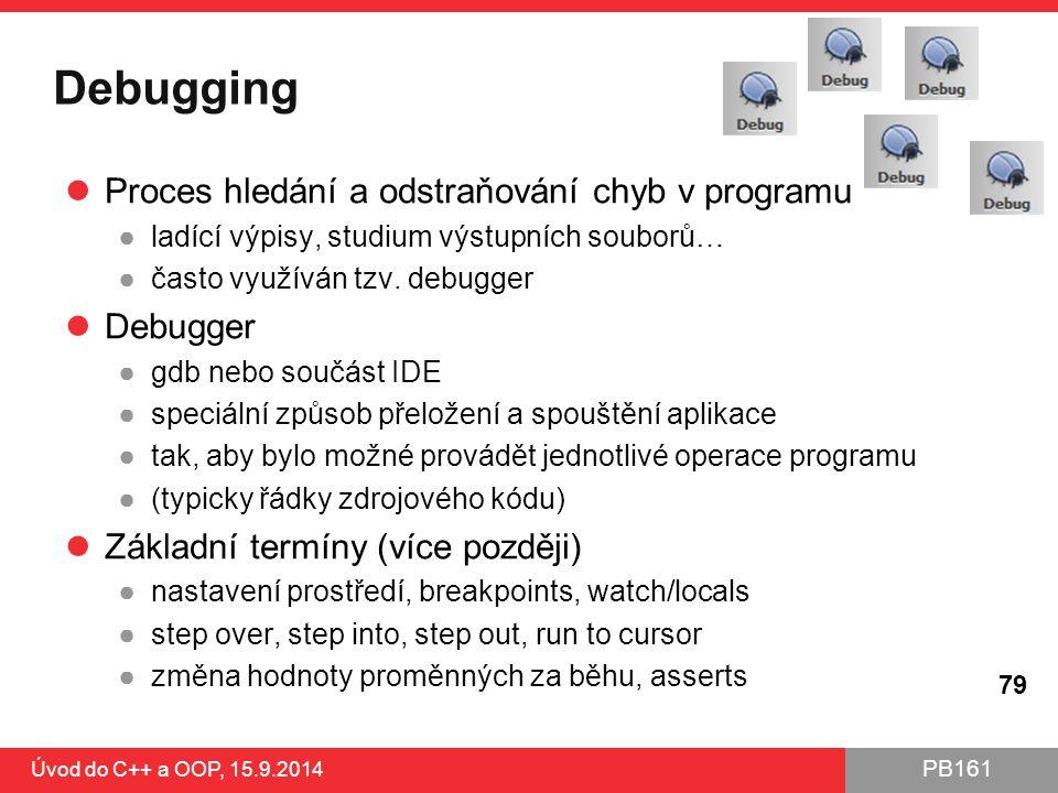 Debugging Proces hledání a odstraňování chyb v programu Debugger