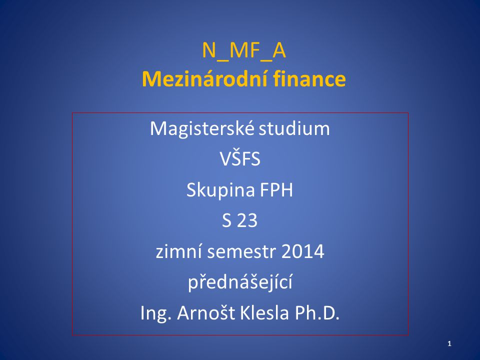 N_MF_A Mezinárodní finance