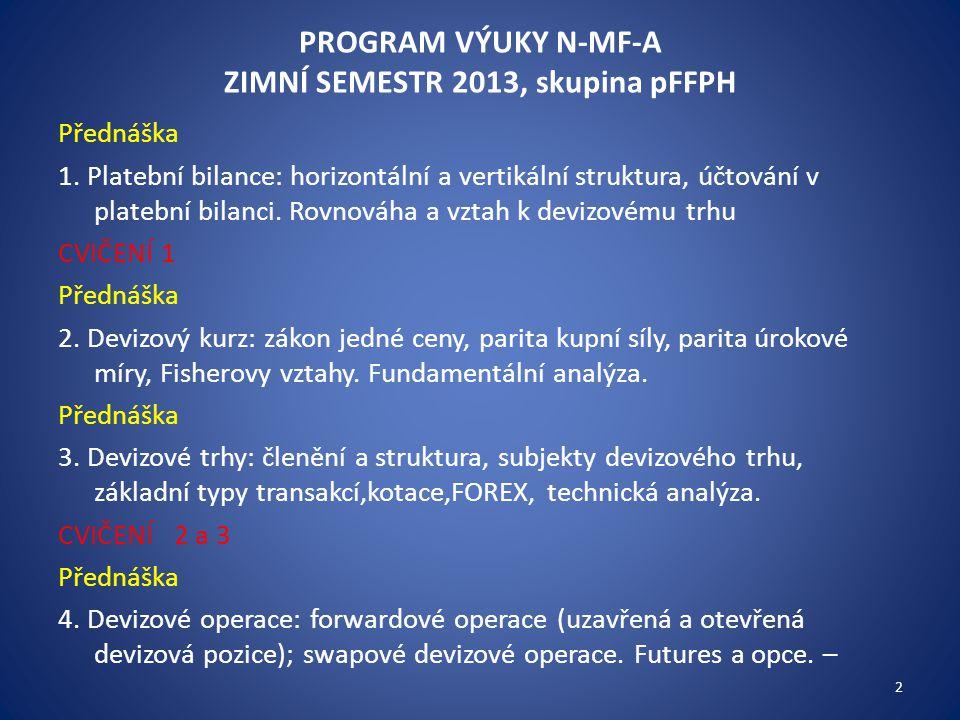 PROGRAM VÝUKY N-MF-A ZIMNÍ SEMESTR 2013, skupina pFFPH