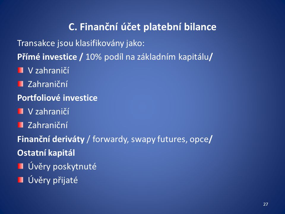 C. Finanční účet platební bilance
