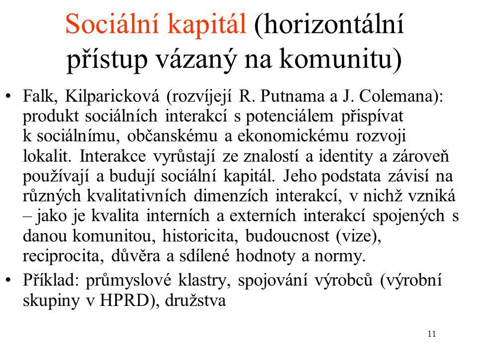 Sociální kapitál (horizontální přístup vázaný na komunitu)