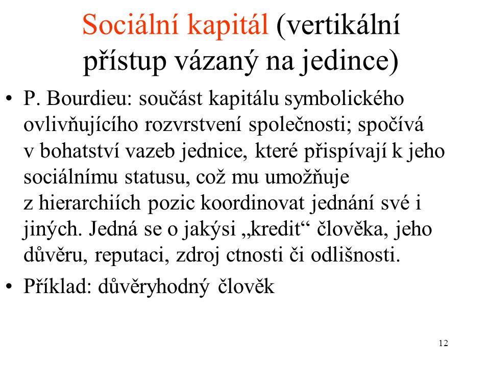 Sociální kapitál (vertikální přístup vázaný na jedince)