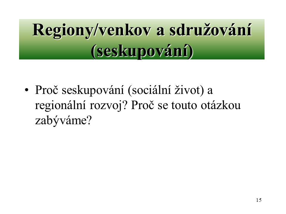 Regiony/venkov a sdružování (seskupování)