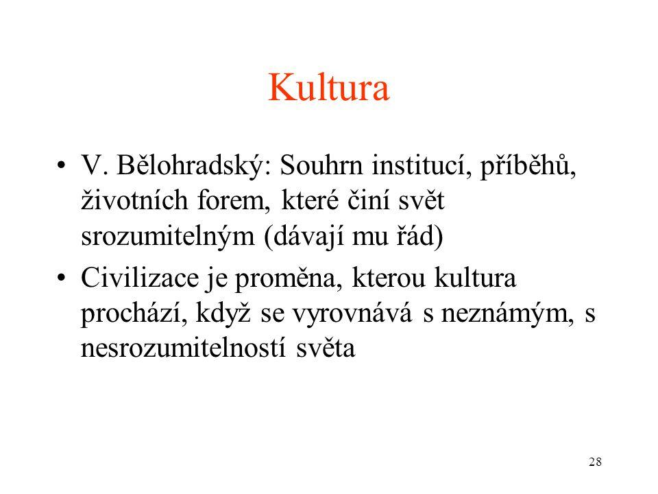 Kultura V. Bělohradský: Souhrn institucí, příběhů, životních forem, které činí svět srozumitelným (dávají mu řád)
