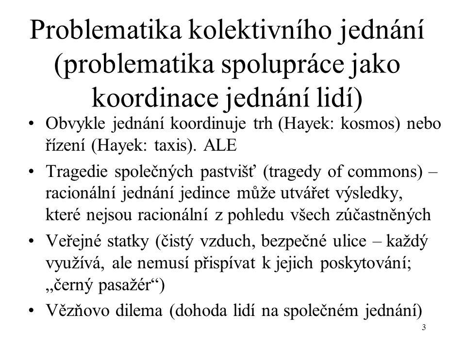 Problematika kolektivního jednání (problematika spolupráce jako koordinace jednání lidí)