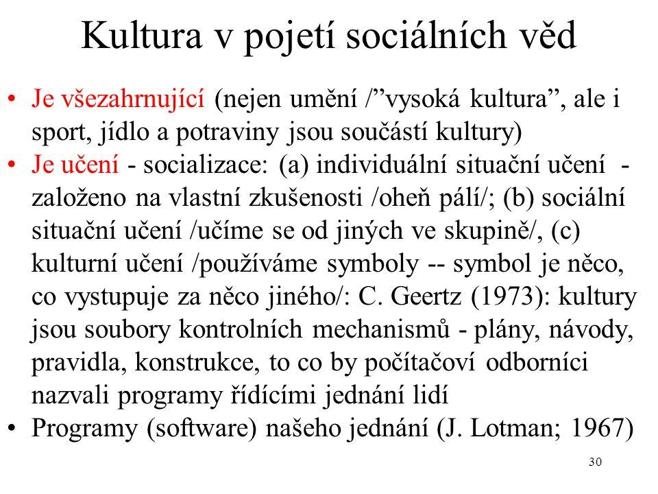 Kultura v pojetí sociálních věd