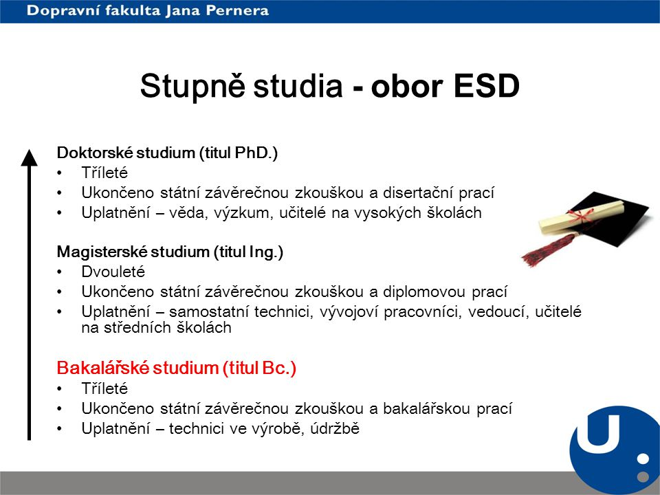 Stupně studia - obor ESD