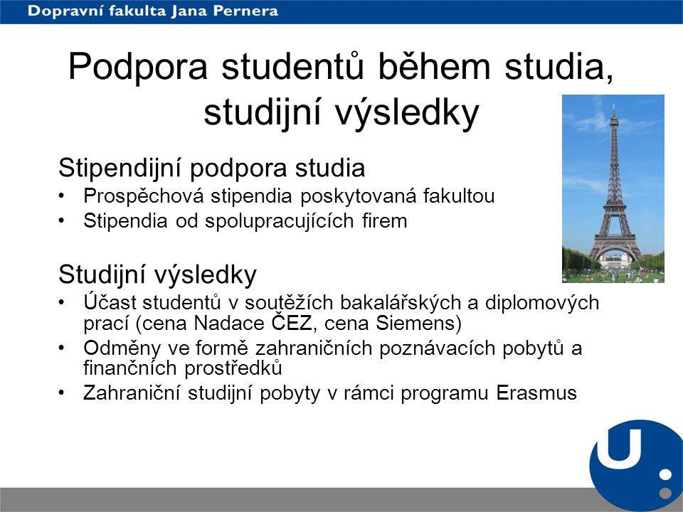 Podpora studentů během studia, studijní výsledky