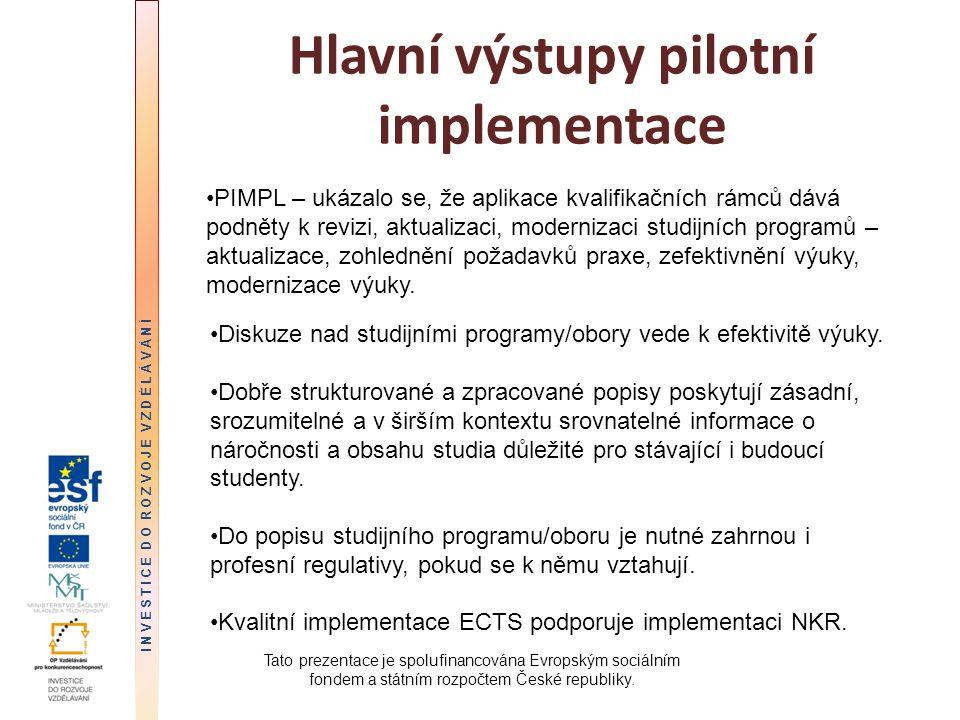 Hlavní výstupy pilotní implementace