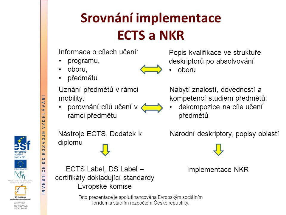 Srovnání implementace ECTS a NKR