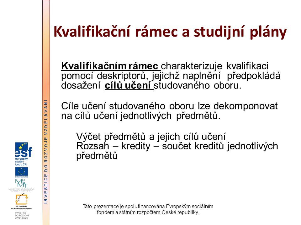 Kvalifikační rámec a studijní plány