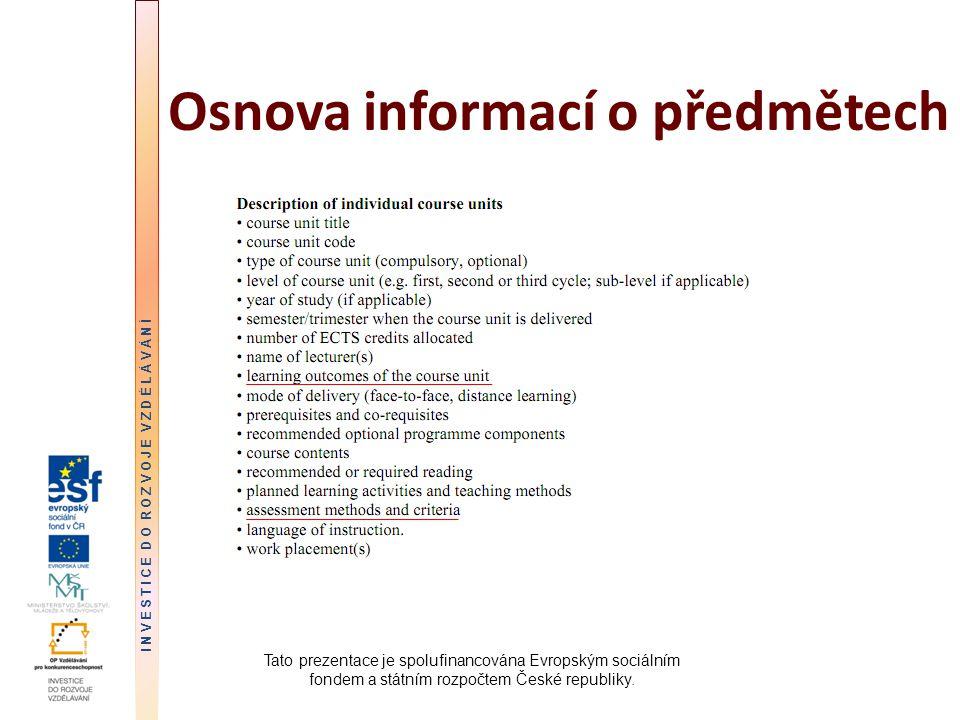 Osnova informací o předmětech