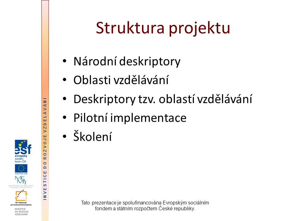 Struktura projektu Národní deskriptory Oblasti vzdělávání