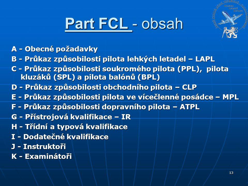 Part FCL - obsah