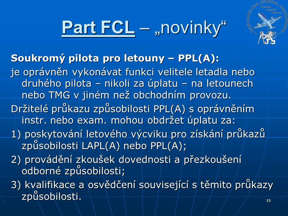 """Part FCL – """"novinky"""