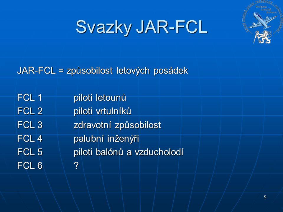 Svazky JAR-FCL JAR-FCL = způsobilost letových posádek