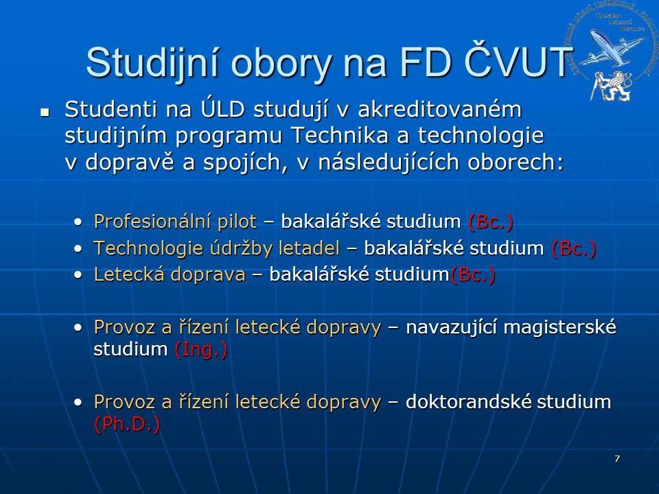 Studijní obory na FD ČVUT