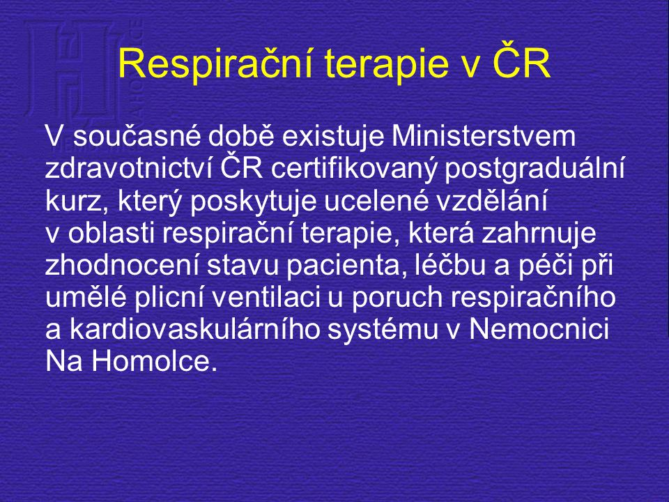 Respirační terapie v ČR