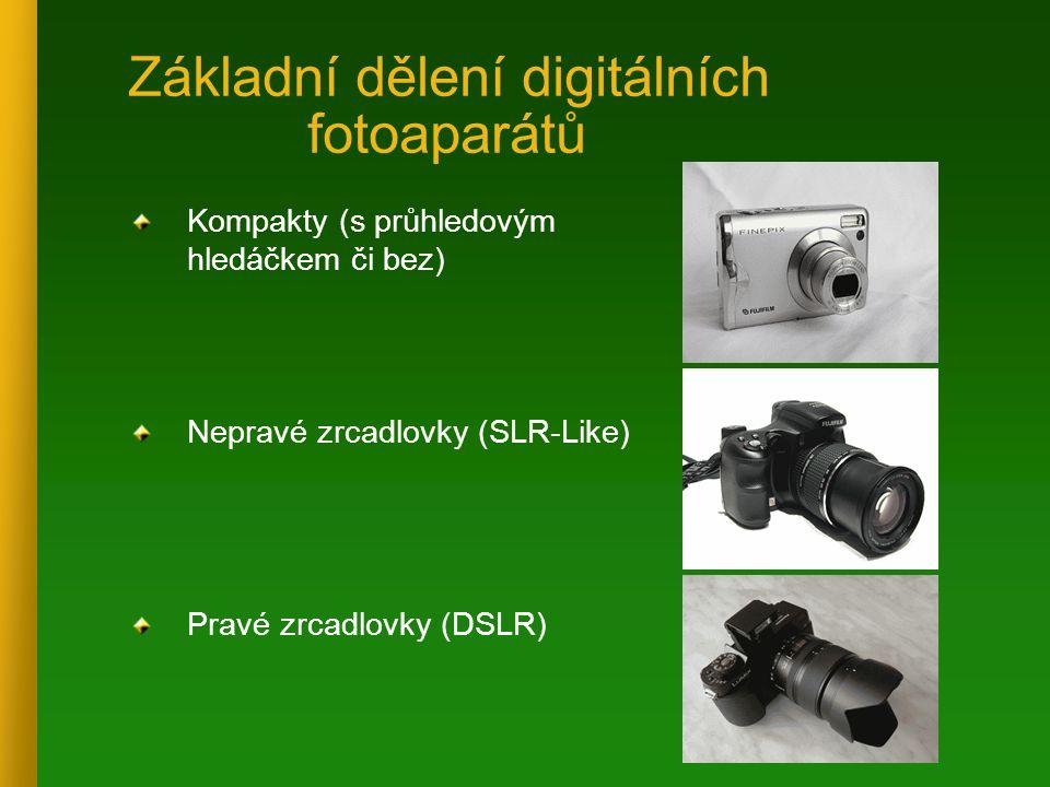 Základní dělení digitálních fotoaparátů